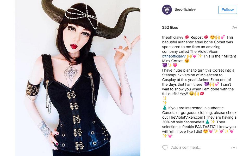 Amber Shows of her Violet Vixen Corset